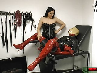Breast torture nails German domina make nippel torture with nails at bdsm slave