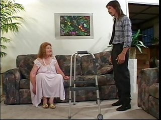 Kinky old lady sex - Old lady with walker swallows young dudes cock and sucks his balls