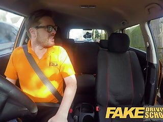 Black boob fake - Fake driving school 34f boobs bouncing in driving lesson