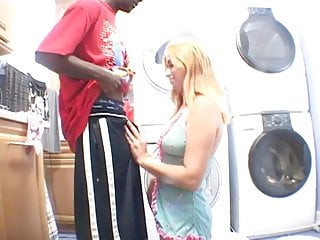 Sexy blonde giving a handjob Sexy blond gives black guy a handjob