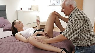 DADDY4K. Winsome redhead creampied after sex with bf's old step dad
