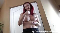 Jerk off twice and eat both loads of cum CEI