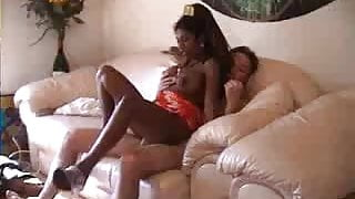 Busty french ebony takes it in pussy and ass