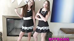Couple of horny chicks organize a lesbian party for new slut