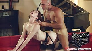 Lingerie clad Stoya loves to have her hair pulled