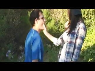 Teenage fucking clips - Two teenagers strapon fuck a boy met in the forest