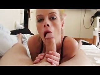 Let him cum inside her Blonde girl sucks so calmly and let him cum in her face