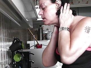 Milf house slut Horny mature slut granny playing all through her house
