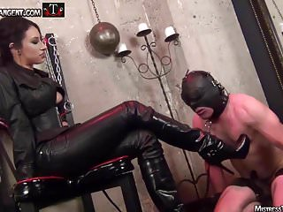 Femdom male slave trade Mistress tangent smokes and torments male slave