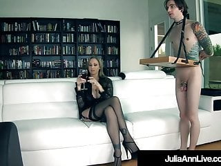 Eat her out porn - Femdom milf julia ann orders leashed boy toy to eat her out