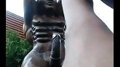 Hot chick fucks a statue