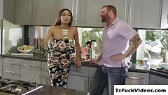 Brunette Busty tranny Jessy Dubai gets fuck in the kitc