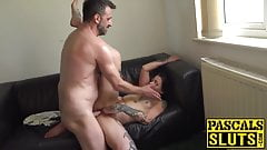Cute Nayomi Sharp dominated and cum sprayed by daddy Pascal