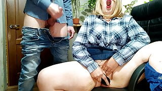 I pulled my cock out and cum on a masturbating bitch