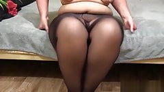 bbw in nylon pantyhose shows your fat ass and pussy