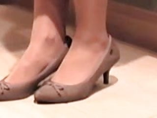 Nude nylons and slip on shoes Nylons and shoes in the kitchen video