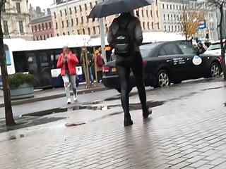 Tight pants on hot ass Latvian vacations - hot ass in leather pants on rainy day