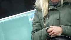 sleepy french candid in pantyhose subway