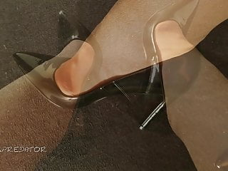 Patent and vinyl lingerie Black patent heels and nylons