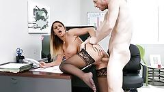 MYLF - Big Tit Milf Beauty Sucks Off Her Boss For A Raise