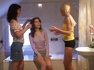 Lesbian three girls - Three girls together in the bathroom