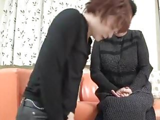 Dig dick tranny - Japanese granny enjoys young guy digging