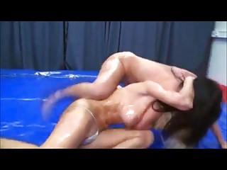 Bikini oil wrestling girls - Oiled girls topless wrestling