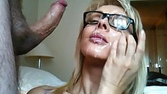 Big beautiful eyeglass cumshot