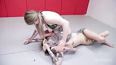 Lesbian Fight As Kaiia Eve Wrestles Vanessa Vegas Hardcore