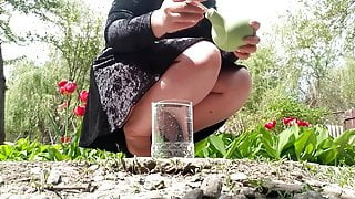 Enema in nature (anal squirt)