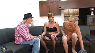 Mature pussy tries gangbang with old and young cocks