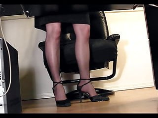 Licking pussy under desk Leggy secretary under desk voyeur cam masturbation