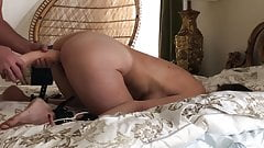 Blonde wife orgasms on huge dildo