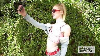 Blonde teen babe Chloe Cherry has rough anal date