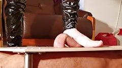 Barefeet domina cock stomping slapping & massage pt2