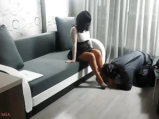 Lick it from the back Mistress comes back from the street
