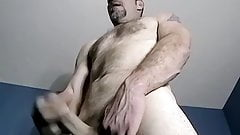 Mature straight amateur strokes his small hairy cock