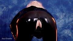 rubber latex catsuit Arya Grander pin up fashion video 4k