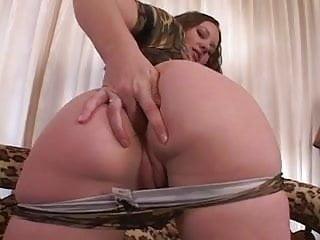 Slide tits Curvy brunette chick slides finger inside her tight asshole