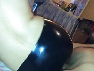 Latex me Me fucking my wifes big ass in latex pants at home