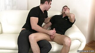 Tricked hetero guy takes gay first time sex
