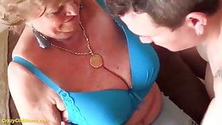 Chubby 77 year old mom Margitta gives a great tit job