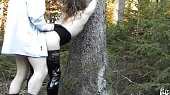 Bound fisting outdoor slut in forest with anonymous blowjob