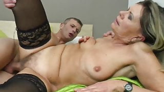 Younger guy fucking his first MILF and dominating her
