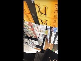 Black milf in pantyhoses - Milf in black pantyhose in supermarket