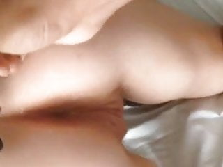 Spunk on pussy thumbs - Wife takes thumb in her ass and beads in her pussy.