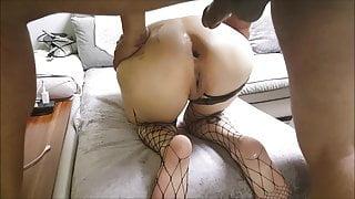 Asian tattooed slut milf has anal fuck