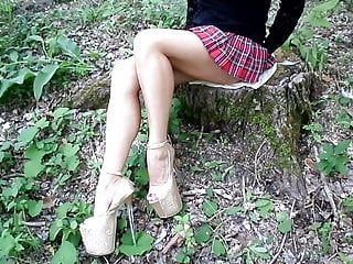 My pantyhose legs pictures - My legs without pantyhose, high heels and a school mini skir