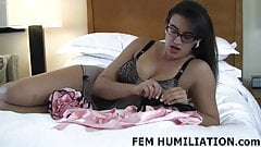 Put on these pretty little pink panties right now