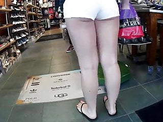 Beautiful women in booty shorts upskirt Bubble cheeks in booty shorts pt.1